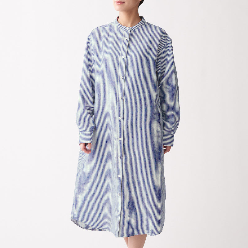 French Linen Washed Stand Collar Dress