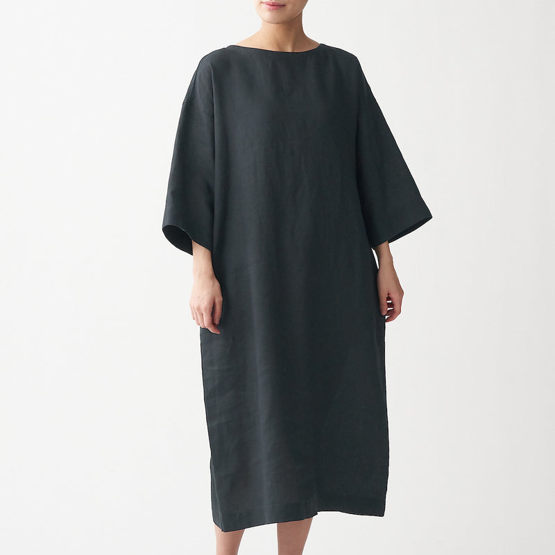 French Linen Washed 3/4 Sleeve Dress