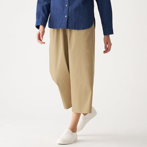 Stretch Densely Woven Cropped Wide Pants