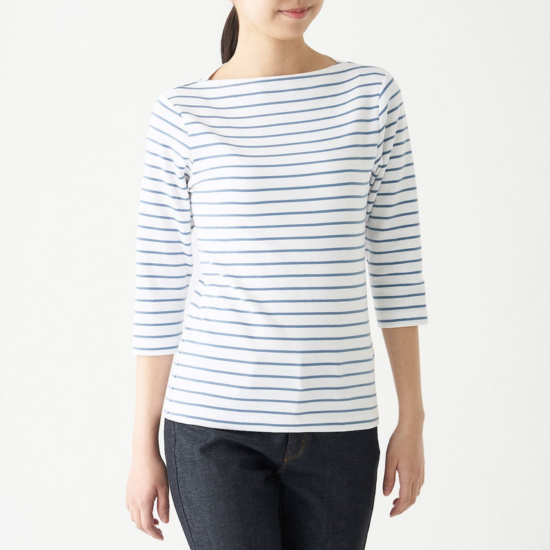 Stretch Rib Boat Neck 3/4 Sleeve T-Shirt (Border)