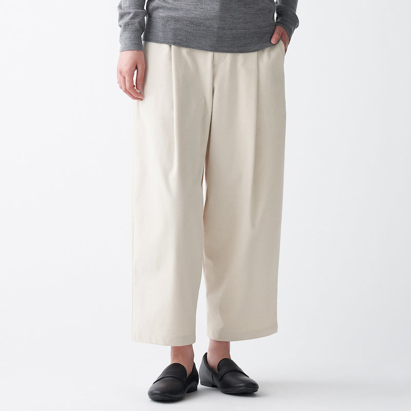 Stretch Brushed Tuck Wide Pants