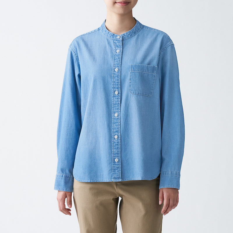 Indian Cotton Denim Stand Collar Shirt