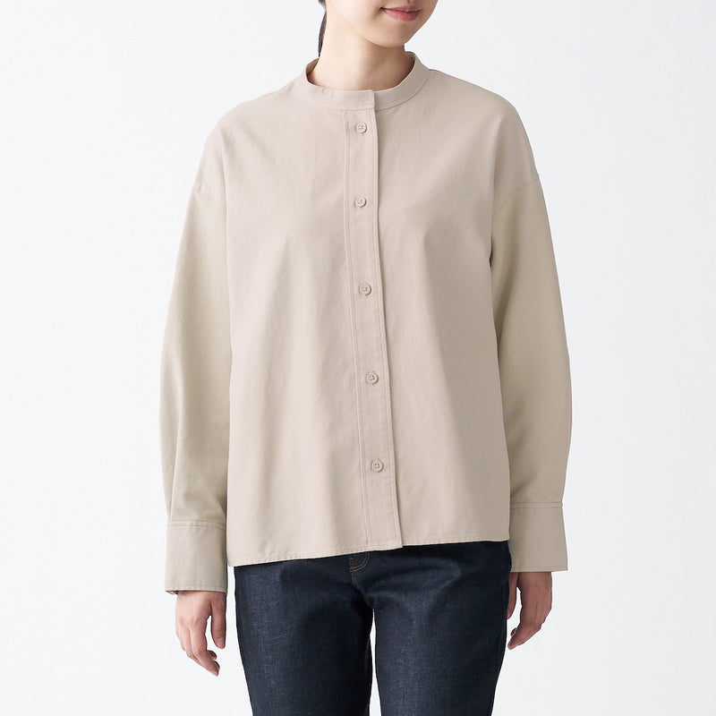Fabric Combination Stand Collar Shirt
