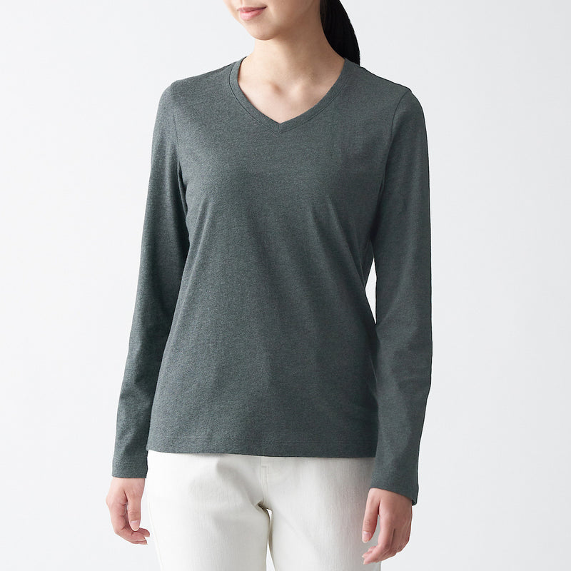Indian Cotton Jersey V-Neck Long Sleeve T-Shirt