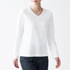 Indian Cotton Jersey V-Neck Long Sleeve T-Shirt(White)