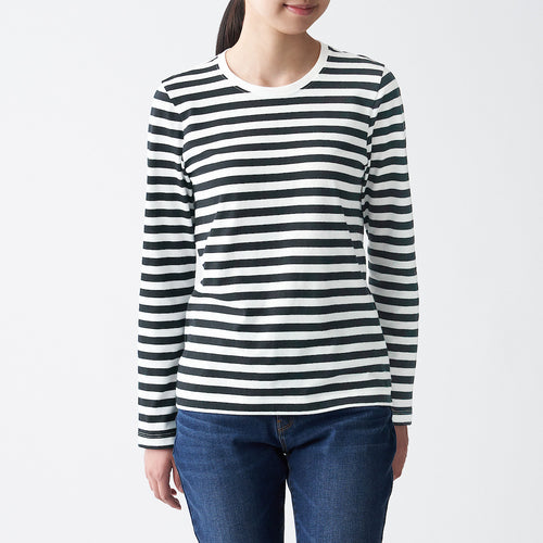 Indian Cotton Jersey Crew Neck Long Sleeve T-Shirt (Stripe)