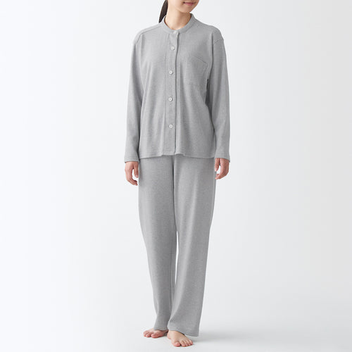 Side Seamless  Cut And Sewn Stand Collar Pajamas