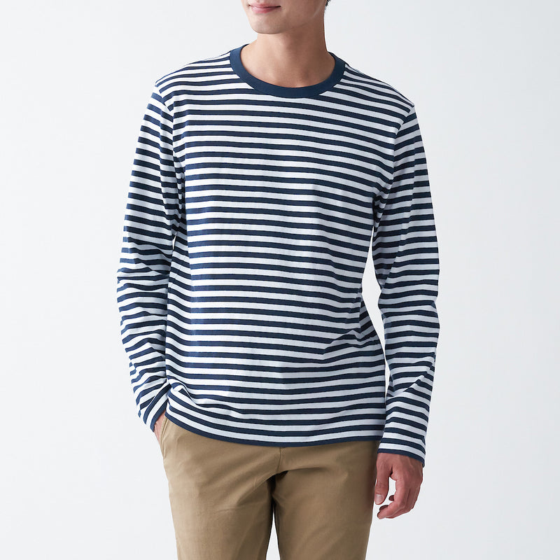 Indian Cotton Jersey Stitch Border Crew Neck L/S T-Shirt