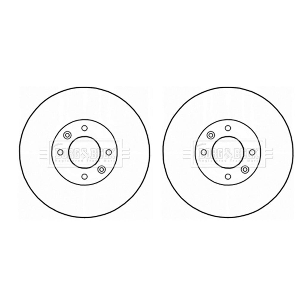 A PAIR OF BORG  BECK REAR BRAKE DISCS FITS CITROEN DS4, DS5, PEUGEOT 308