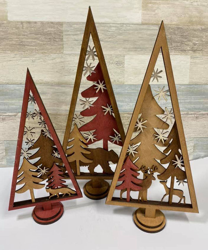 3D Wooden Christmas Trees