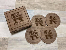 Load image into Gallery viewer, Monogrammed Coasters with storage box