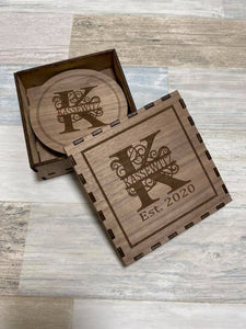 Monogrammed Coasters with storage box