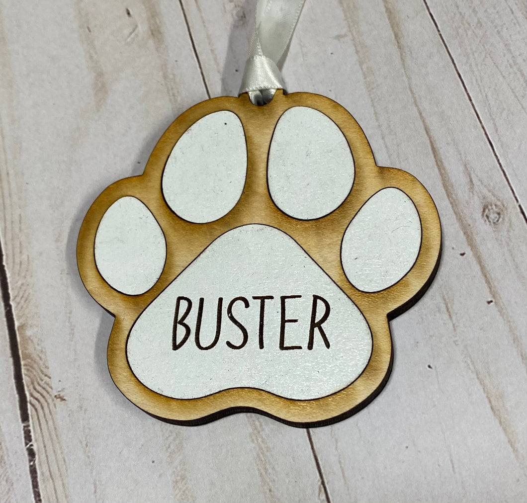 Holiday Paw Print Personalized Ornament