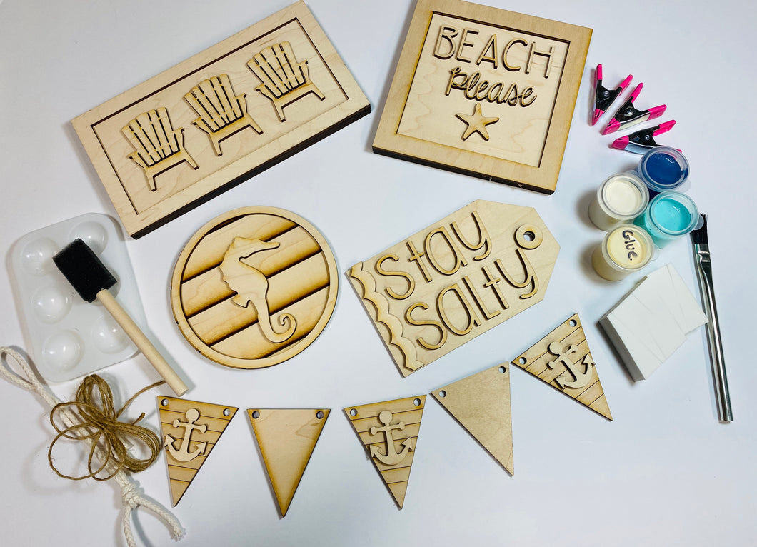 DIY Paint Kit - Beach Theme Tiered Tray Set Unfinished