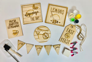 DIY Lemonade Sign Tiered Tray Set Unfinished
