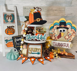 DIY Thanksgiving Tiered Tray Kit Unfinished