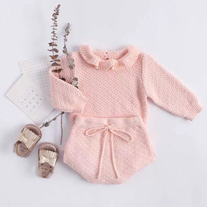 Baby Girl Pink Knitted Sweater w/ Ruffled Shorts