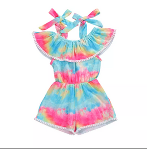 Baby Girl Sleeveless Tie-Dye Romper