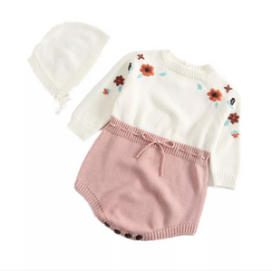 Baby Girl Fall/Flowers Knitted Sweater Romper w/ Bonnet