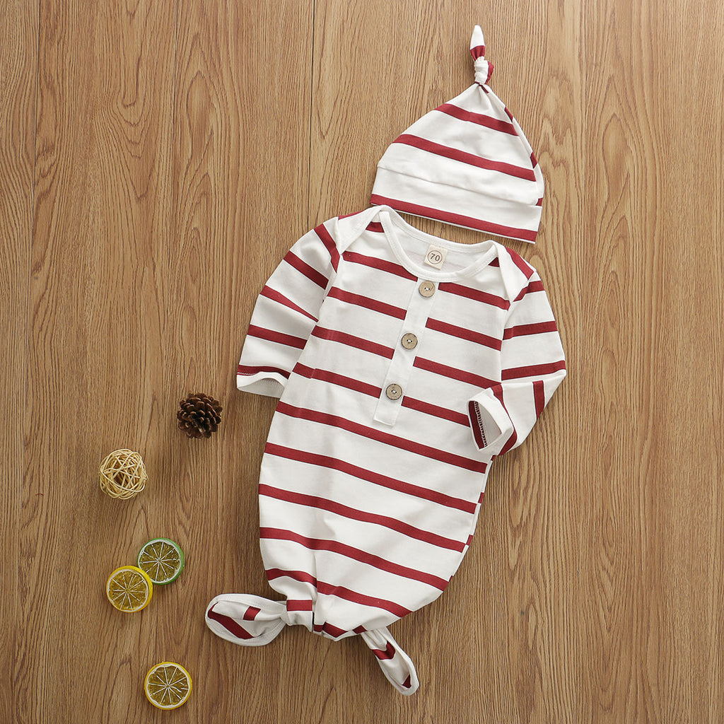 Baby Boy Striped Sleeping Swaddle Outfit with Hat