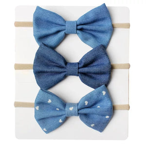 Denim Head Bows 3 pack