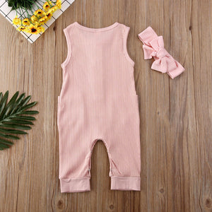 Baby Girl Ribbed Sleeveless Romper Jumpsuit and Headband