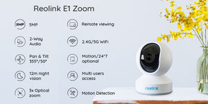 Reolink 5MP PTZ Indoor Home Security Camera Wi-Fi 2.4G/5G 3x Optical Zoom