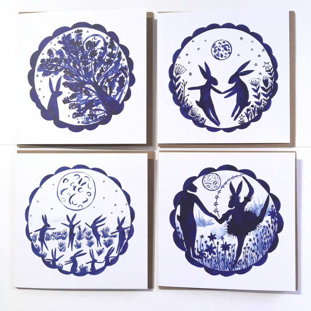 Pack of 50 Moon, Hare and Flowers Blank Luxury Eco-conscious Cards