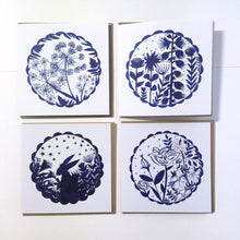 Load image into Gallery viewer, Pack of 50 Moon, Hare and Flowers Blank Luxury Eco-conscious Cards
