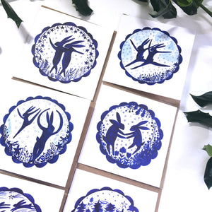 Pack of 50 Christmas Festive Hares Blank Luxury Eco-conscious Cards