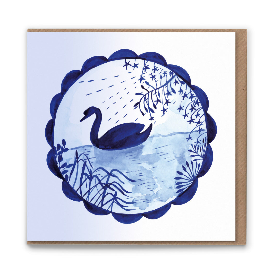 Swan Star Blank Greetings Card