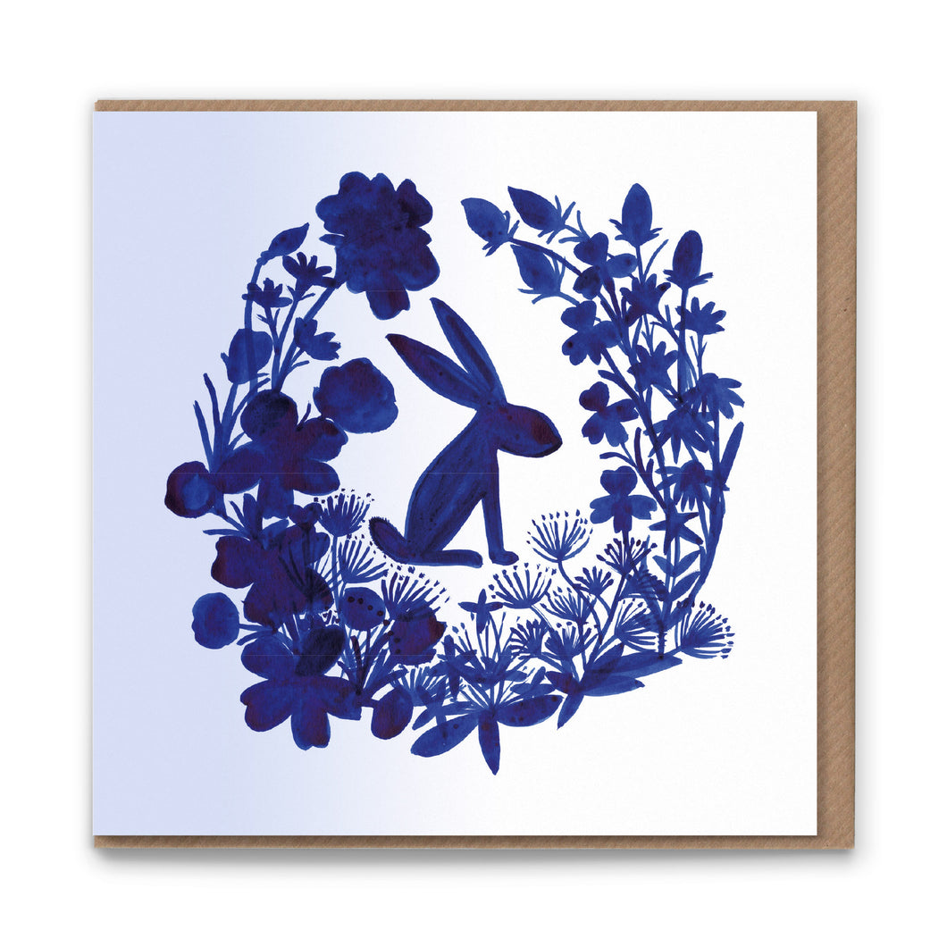 Garden Hare Blank Greetings Card