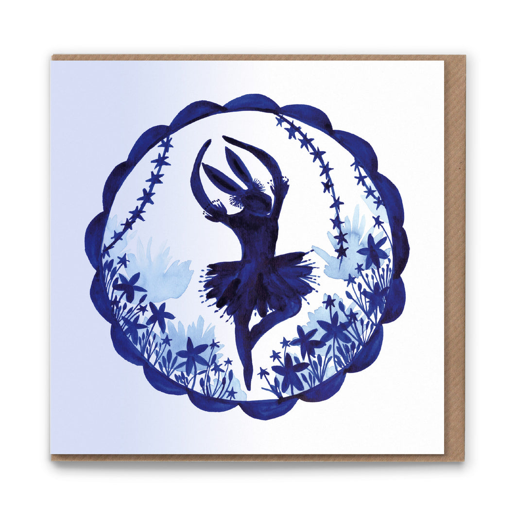 Ballet Hare Blank Greetings Card