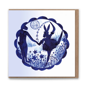 Ballet Hares Blank Greetings Card
