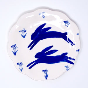 Snowdrop Hares Plate 15cm