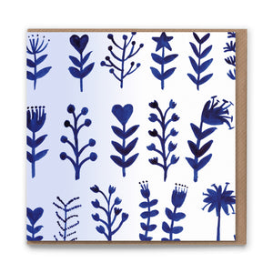 Floral Row Blank Greetings Card