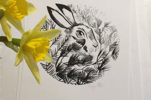 A4 Hare Archival Giclée Print Signed for Artists Support Pledge