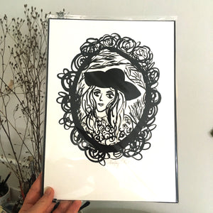 Woman in Hat signed Giclee Archival print