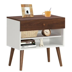Nightstand End Side Table Drawer Storage Shelf Mid-Century Rubber Wood Leg