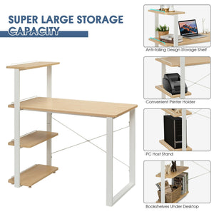 Reversible Computer Desk Study Table Home Office with Adjustable Bookshelf