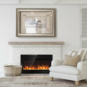 "36"" Electric Wall Mounted Ultrathin Fireplace with Touch Screen and Timer"