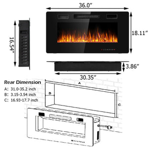 "36"" Recessed Ultra Thin Wall Mounted Electric Fireplace with 12 Flame Colors"