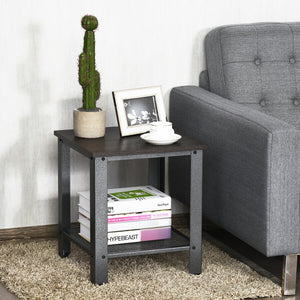 Industrial End Table 2-Tier Side Table
