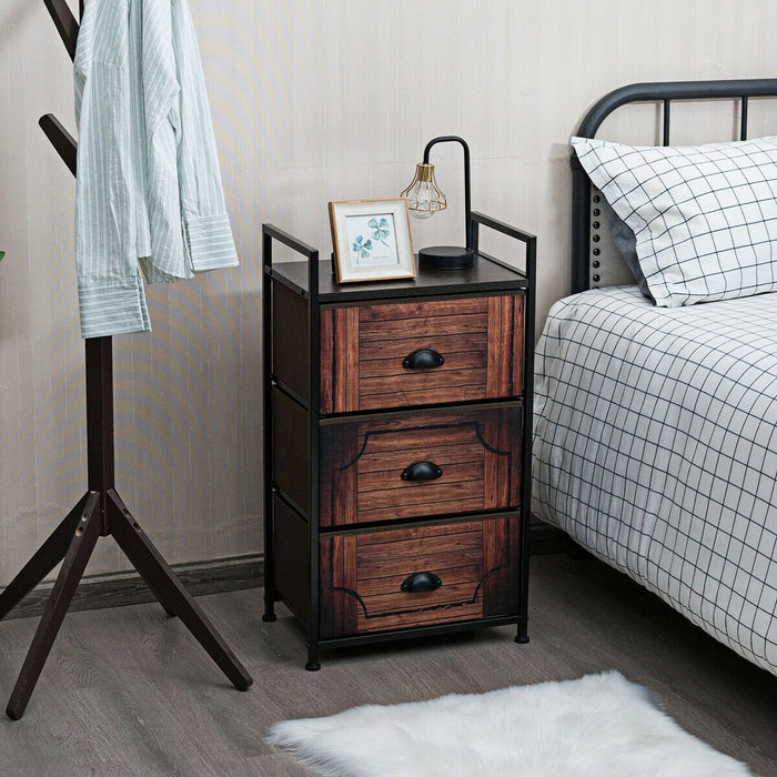 3 Drawer Fabric Dresser Storage Tower Nightstand