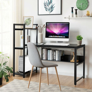 "59"" Computer Desk Home Office Workstation 4-Tier Storage Shelves"