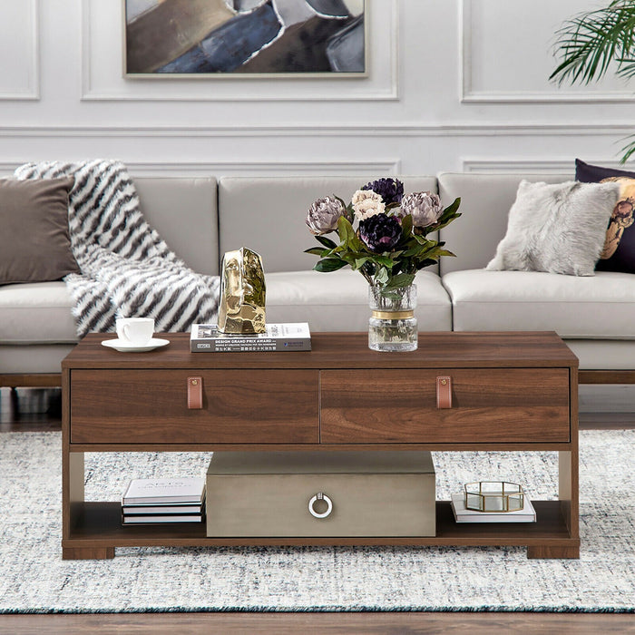 Wood Cocktail Coffee Table with 2 Drawers and Open Storage Shelf