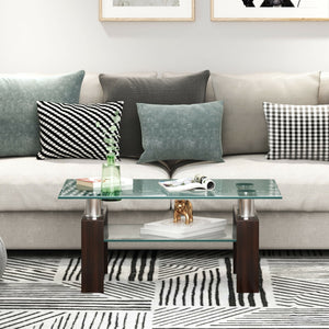 Rectangle Glass Coffee Table with Metal Legs for Living Room