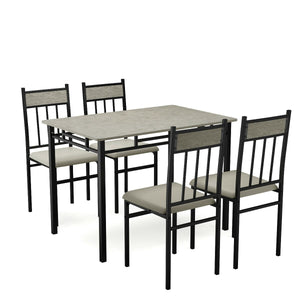 5 Piece Faux Marble Dining Set Table