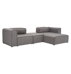 L-Shaped 3 Seater Left Sectional Chaise Modern Sofa - Björn - Pebble