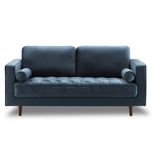 Bente Tufted Velvet Loveseat 2-Seater Sofa - Light Blue